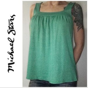 Michael Stars Teal Ruched Babydoll Tank Top Large